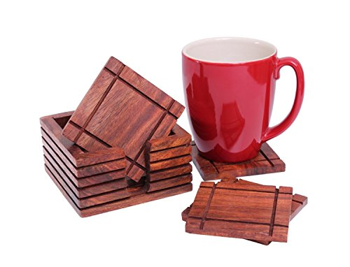 Diwali Gifts Rustic Wooden Square Bar Coasters for Drinks Set of 6 with Holder Hand Carved Barware Dining Accessory