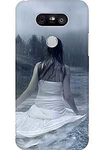 AMEZ designer printed 3d premium high quality back case cover for LG G5 (Cute Girl in Rain)