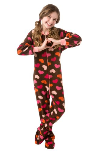 Big Feet Pjs Infant - Brown With Hearts (506) Fleece Footed Pajamas 12M - 4T (18M) front-581276