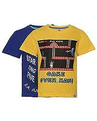 Punkster Yellow & Royal Blue T-Shirt Combo For Boys
