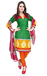 Galaxy Women's Multi-Coloured Printed Poly-Cotton Dress Material (Free Size_Green)