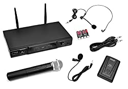 Pyle PDWM2115 Wireless Microphone System with Handheld, Lavaliere Mics and Belt Pack Transmitter