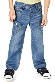 Cotton Rich Straight Leg Adjustable Waist Jeans