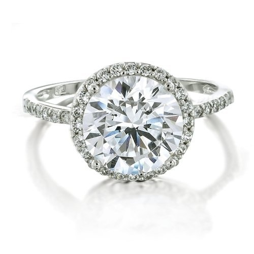 Bling Jewelry Vintage Style 925 Sterling Silver Round Brilliant CZ Diamond Engagement Ring size 6