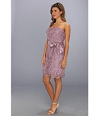 Adrianna Papell Women's Strapless Lace Sheath Mauve Dress 6