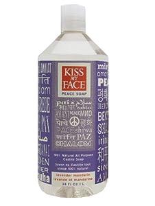 Kiss My Face Peace Soap, All Purpose Castile Soap, Lavender Mandarin, 34 Ounce
