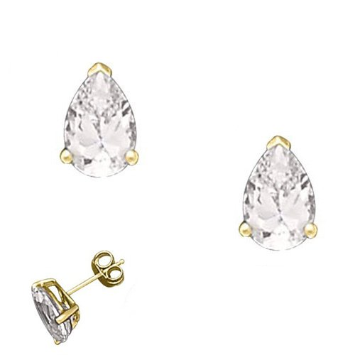 Zella's 925 Sterling Yellow Gold Plated Stud Earrings 6Ct Bezel Set CZ Pear Shape w/Prongs - Incl. ClassicDiamondHouse Free Gift Box & Cleaning Cloth