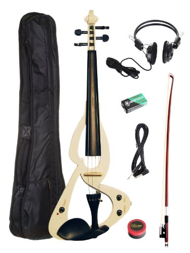 Barcelona Beginner Series Electric Violin with Carrying Case and Accessories - White