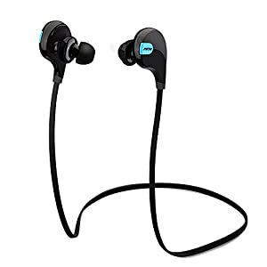 Mpow Swift Bluetooth 4.0 Wireless Sport Headphones Sweatproof Running Gym Exercise Bluetooth Stereo Earbuds Earphones Car Hands-free Calling Headsets with Microphone and High-fidelity Stereo Sound via apt-X for iPhone 6 6 plus 5S 4S Galaxy S6 S5 and iOS android Smartphones (Cool Black)