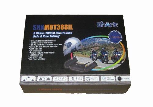 Shark Shkl3Kitxmbt388Il 3 Motorcycle Snowmobile Bluetooth Multi Interphone Headsets 3 Riders Bluetooth Intercom - Triple Pack