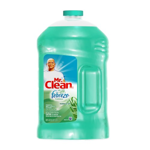 Mr. Clean Multi-surfaces Liquid, with Febreze Freshness, Meadows and Rain, 80-Ounce (Pack of 4)