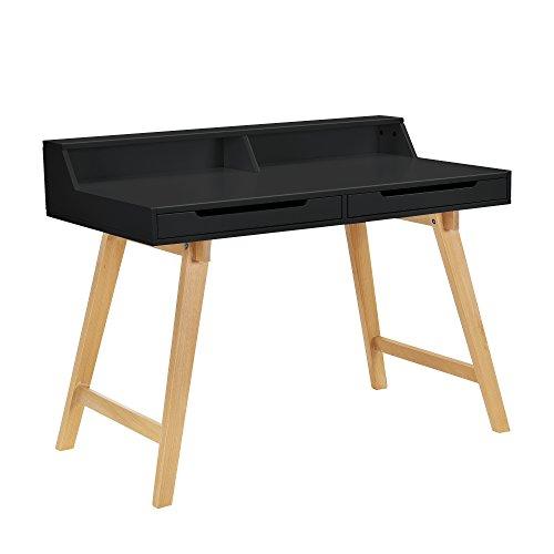 encasa-Retro-Schreibtisch-85x110x60cm-Schwarz-matt-lackiert-mit-Schubladen