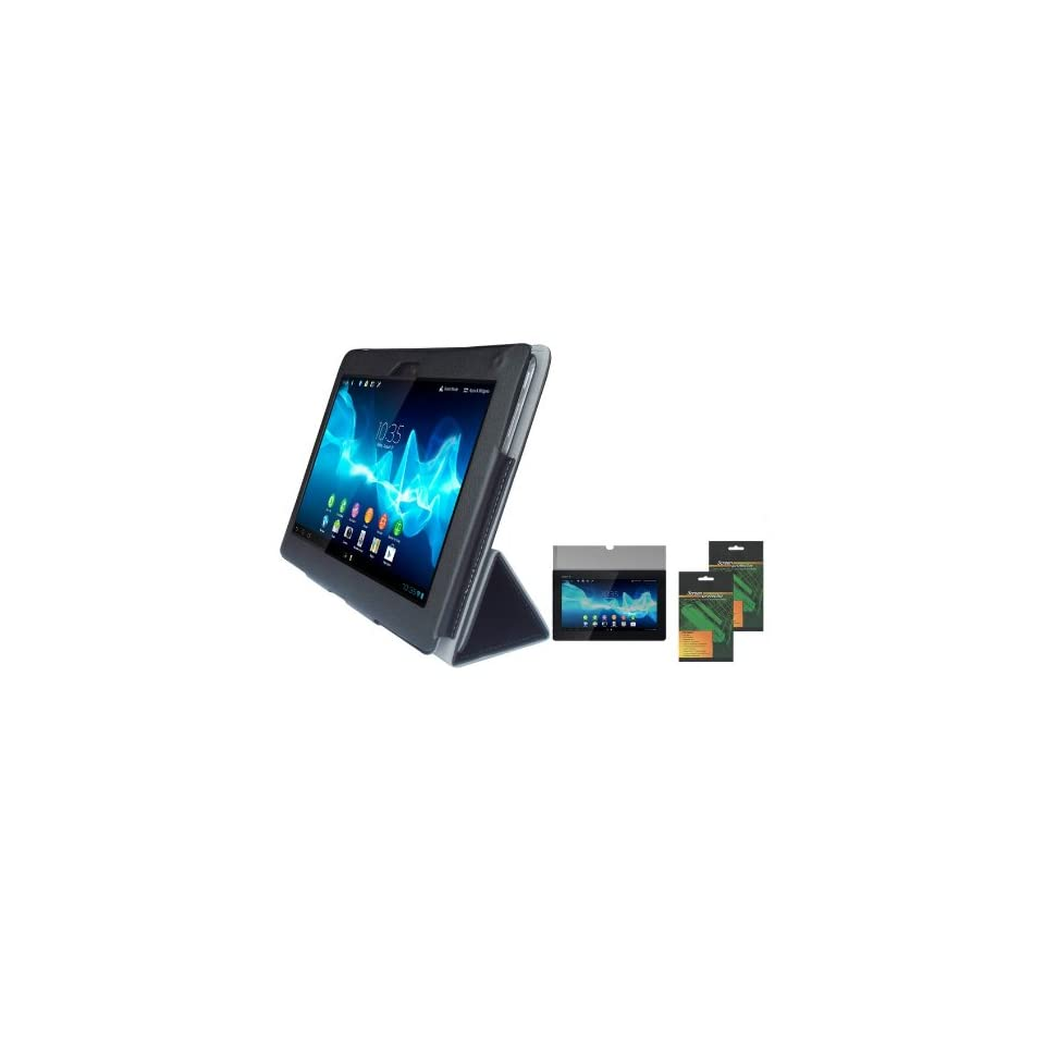 iShoppingdeals   Black Folio PU Leather Case Cover and Anti Glare Matte Screen Protector for Sony Xperia Tablet S (SGPT121US/SGPT122US/SGPT123US)