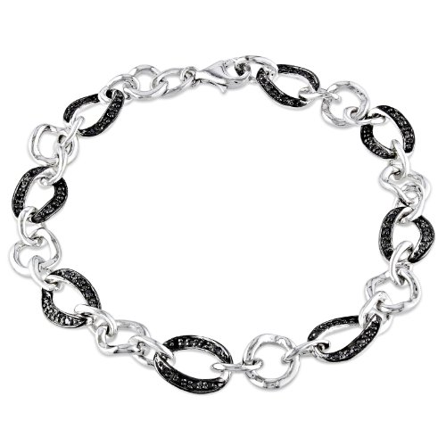 Sterling Silver 1/4 CT TDW Black Diamond Bracelet (7.5 in)