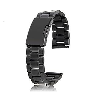 20 mm Venda De Reloj De La Correa De Acero Inoxidable Sólido Con Hebilla Del Despliegue - Negro por Genérico