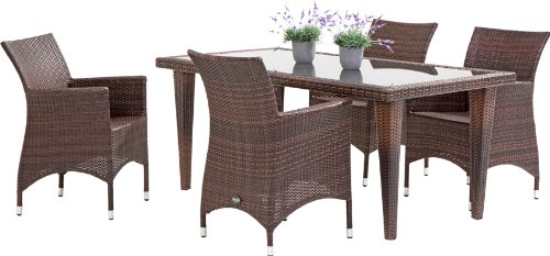 gartenm bel sitzgruppe rattan geflecht 5 teilig dani quarto spraystone g nstig online kaufen. Black Bedroom Furniture Sets. Home Design Ideas