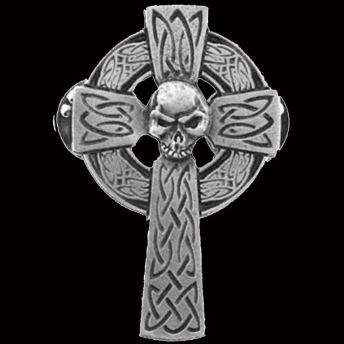 CELTIC CROSS SKULL PIN 1.75 inch BIKER PIN