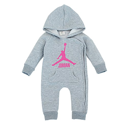 YISET Baby Clothing Long Sleeve Hooded Jordan Baby Rompers Jump Suit (10-12 Months)