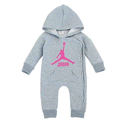 YISET Baby Clothing Long Sleeve Hooded Jordan Baby Rompers Jump Suit (10-12 Months)