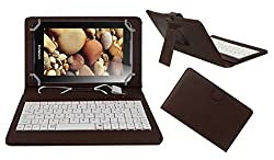 ACM PREMIUM USB KEYBOARD TABLET CASE HOLDER COVER FOR LENOVO IDEA PAD A1000 With Free MICRO USB OTG - BROWN