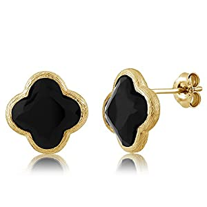 Sterling Silver Flower Shape Black Onyx Diamond Cut Stud Earrings