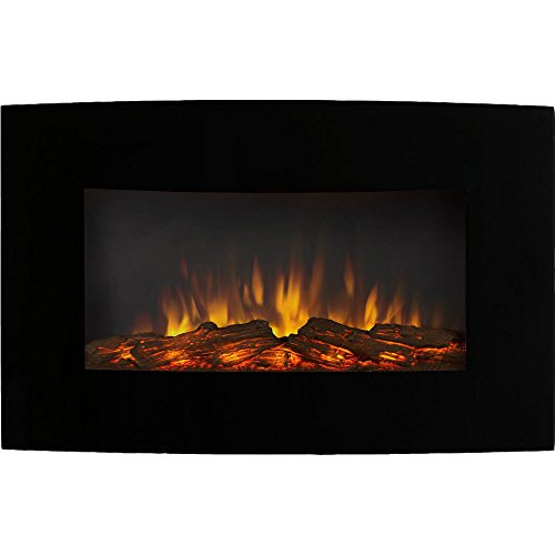 Gibson Living Soho 35 Inch Curved Log Wall Mounted Electric Fireplace