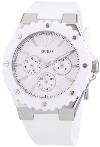 Guess W90084L1 - Reloj analógico de cuarzo para mujer con correa de silicona, color blanco