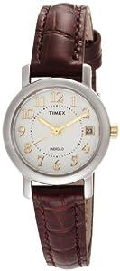天美时Timex T2N3369J Classic Analog Silver 女士棕色表带带日历手表.45
