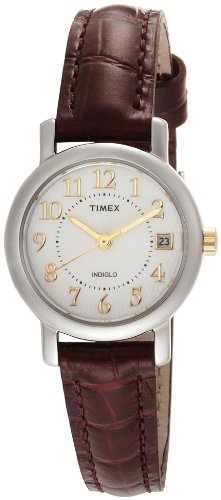 Timex Women's T2N3369J Classic Analog Silver Case Brown Leather Strap Dress Watch