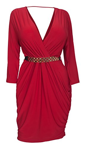 EVogues Women's Deep V-Neck Wrap Bodice Long Sleeve Dress Red - 1X