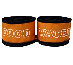 Dual Travel Dog Bowls by GoPets Collapsible Folding Pet Food & Water Bowl For Feeding Dogs & Cats When Traveling On The Go With Satisfaction Guarantee