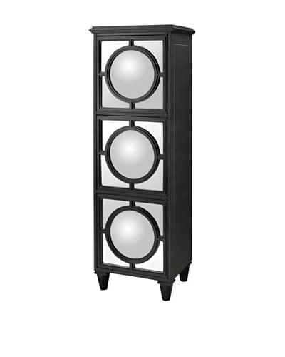 Artistic Convex Mirror Shelf Unit, Black