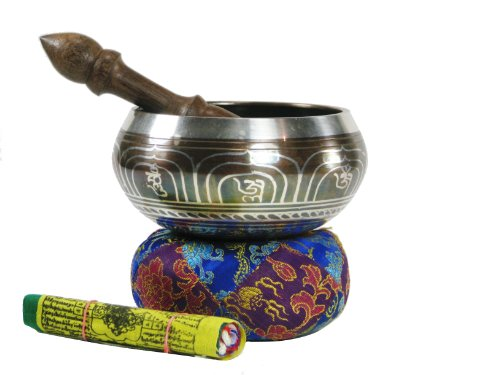 Exquisite 5 Inch Metallic Finish Tibetan Singing Bowl with Striker, Cushion, ...