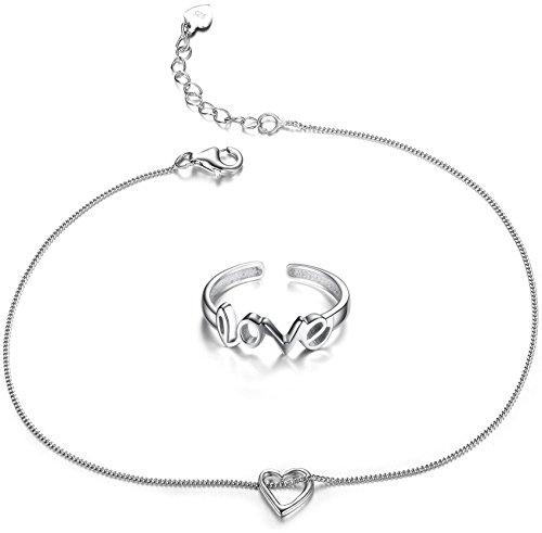 Women's Anklet  Heart Pendant 925 Sterling Silver