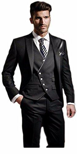 Arrowder-Mens-One-Button-Suit-Slim-Fit-Black-Solid-3-Piece-Sets