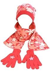 Winter Girls Kids Age 4-6 Knit Flower Scarf Beanie Hat Cap & Glove Ski Set Pink
