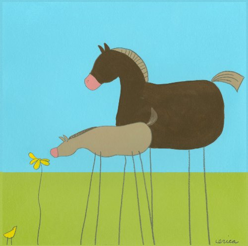 Green Frog Art 6X6 Canvas Gallery Wrapped Art, Stick-Leg Horse - 1