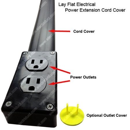 new flat electrical power extension cord cover length 10ft color black ebay. Black Bedroom Furniture Sets. Home Design Ideas