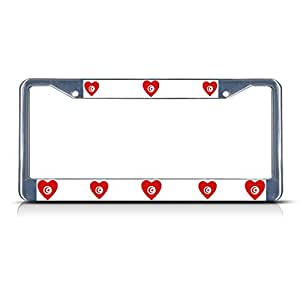 Amazon.com: Love Heart Tunisia Country Flag Chrome Metal License Plate