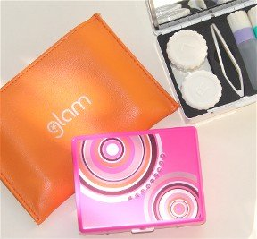 GLAM Rhinestone Travel Contact Lens Case: Contact Case, Cleaning Solution, Tweezers & Mirror, Light Pink