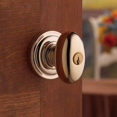 Baldwin 5225.003.Entr Egg Knob Keyed Entry Set, Lifetime Polished Brass front-687484