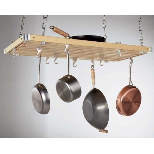 Concept Housewares PR-40232 Natural Wood Rectangular Ceiling Kitchen Rack