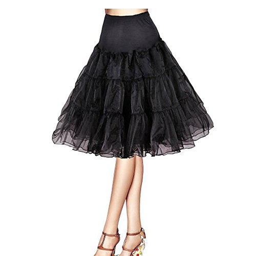 "Luyan 50s Vintage Rockabilly Net Petticoat Skirt Tutu ,26"" Length (2, black)"