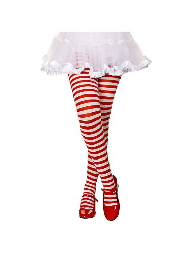 Red and White Striped Girl's Tights