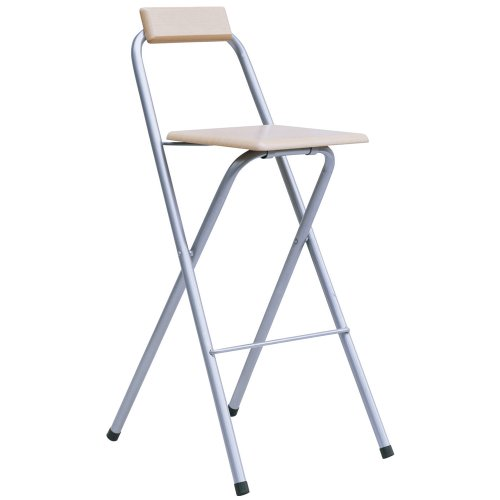 Beech Folding Wood Bar Stool Silver Powder Seat Chair