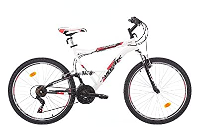Velotec Men's REBORN Dual Suspension Mountain bike 26 inch wheels, Shimano 18 sp, frame 19 inch, white