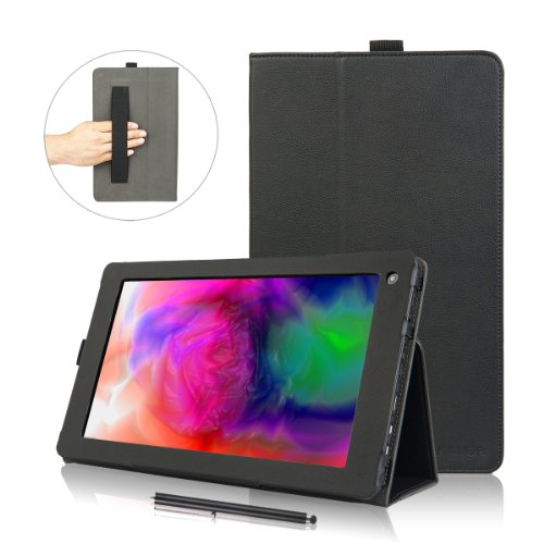 Kamor® Odys IEOs Quad Hülle leder Tasche Etui Schutzhülle case cover zubehör (PU Leder Schutzhülle) Odys Tablet 10 Zoll Hülle with Stylus(Eingabestift) & stylus holder & hand strap, Automatic Sleep/Wake Function, Built-in 2-view angle for Odys IEOs Quad 25 7 cm 10 1 zoll tablet-pc 3G - Schwarz