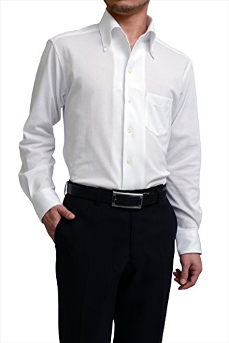 (オジエ) ozie【ビズポロ・鹿の子ニットシャツ】【ワイシャツ・カッターシャツ】長袖・細身スリムタイトフィット・クールマックス・イージーケア・イタリアンカラー・ボタンダウン ホワイト白シャツ