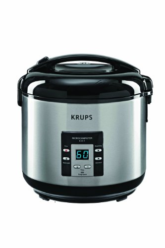 Krups Rk7011 4-In-1 Rice Oatmeal Slow Cooker And Steamer With Stainless Steel Housing, 10-Cup (Uncooked), Silver