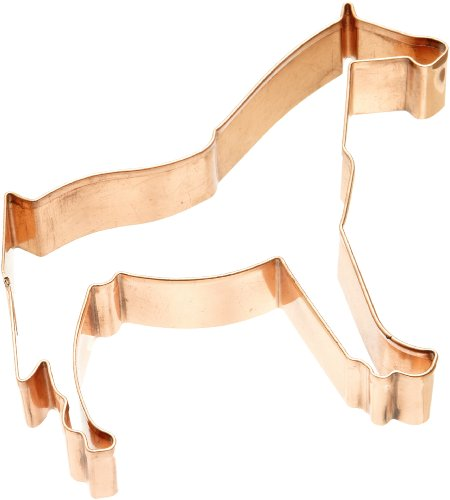 This copper cookie cutter will allow you to make cookies that look like the side view of a horse.